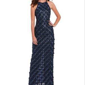 Belle Badgley Embroidered Sequin Gown Sheath Navy